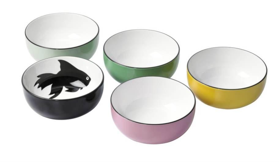 Serveringsskål Trendig i stengods är glaserad i fina färger.