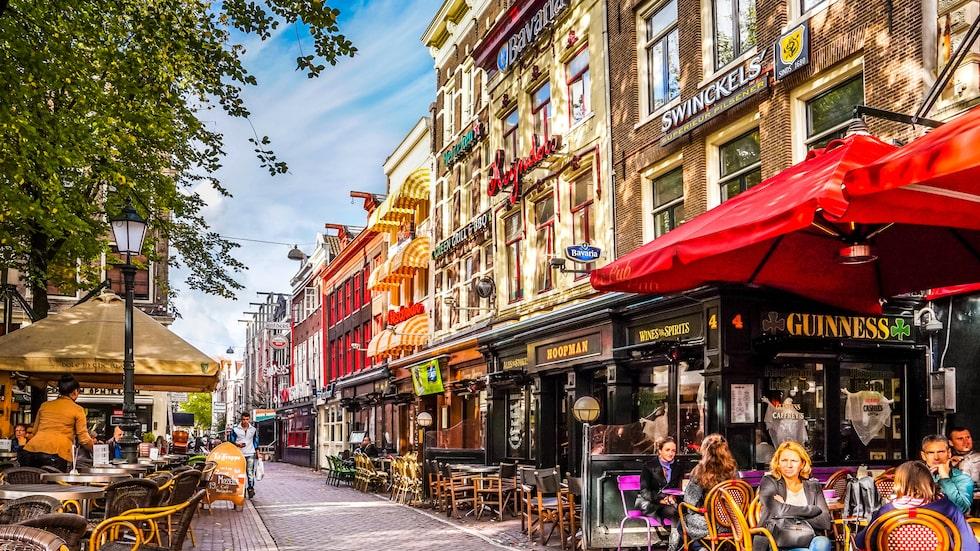 Leidseplein, gott om restauranger och ett utmärkt läge nära flera nöjesställen som Melkweg och fina parken Vondelpark.