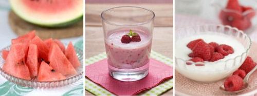 Vattenmelon, hallonkvarg och yoghurt med hallon.