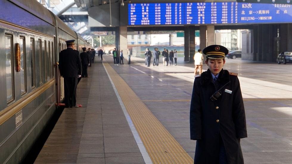 Tid för avgång med transmongoliska järnvägen från Peking till Moskva.