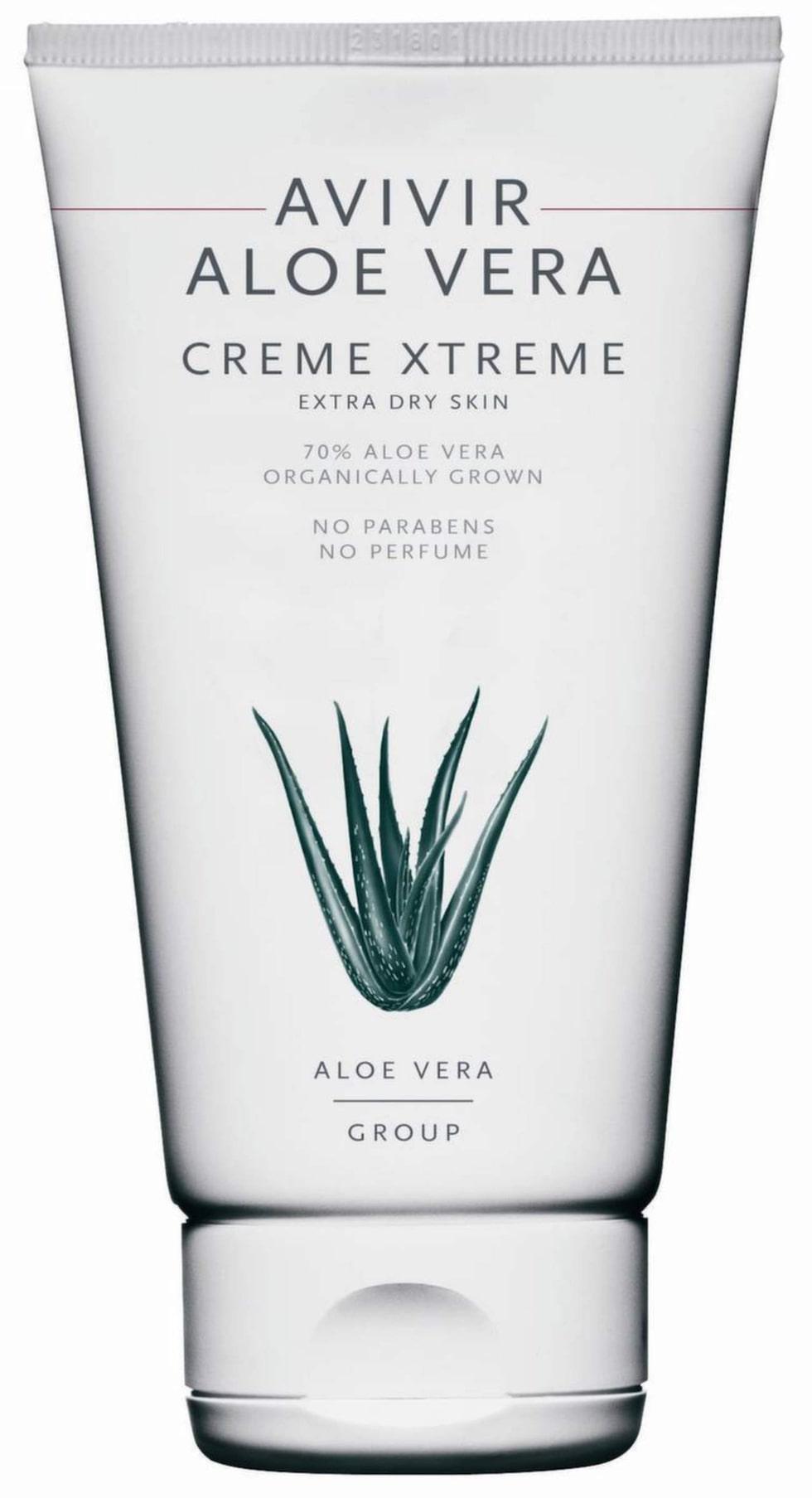 Aloe vera creme xtreme, 150 ml, 169 kr, AvivirEn naturlig kroppskräm som passar torr hud, både på kroppen, ansiktet och till och med hälar och fötter. En allroundprodukt som innehåller 70 procent ekologisk aloe vera och är Svanenmärkt. Fri från parfym och parabener.