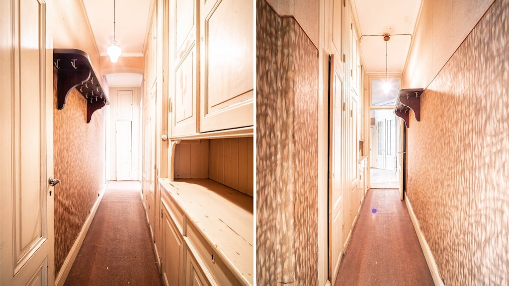 Den förr så vanliga serveringsgången mellan kök och sovrum. Serveringsskåp längs ena väggen.
