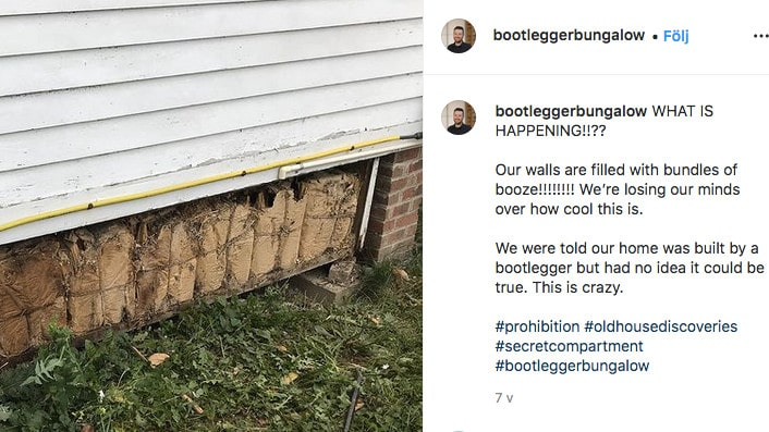 Paret visar på Instagram hur de hittat en mängd paket bakom brädorna som visar sig innehålla riktigt gammal whisky.