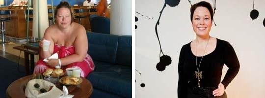 Före och efter. När Tina vägde som mest pekade vågen på 117 kilo. I dag har hon gått ner 33 kg.