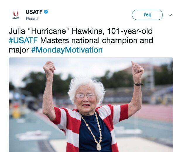"""101-åriga Julia har fått smeknamnet Hurricane (Orkanen på svenska): """"Jag gillar att orkaner är snabba och att jag är snabb""""."""