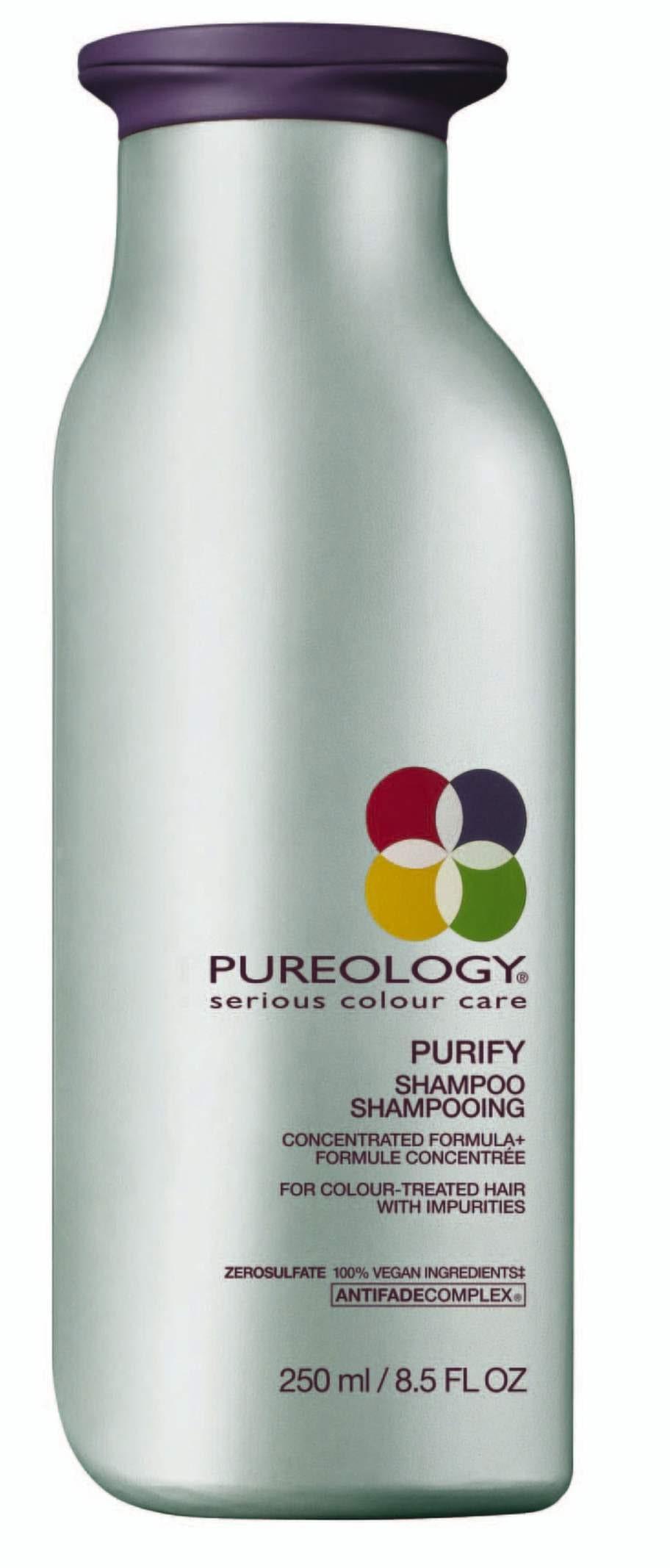 Stärker. Djuprengörande schampo som skonsamt rengör på djupet utan att skada hårfärgens glans och lyster. Innehåller stärkande egenskaper från trollhassel, bikarbonat och tea tree olja.<br>Purify schampo, 280 kronor/250 ml, Pureology. pureology.se
