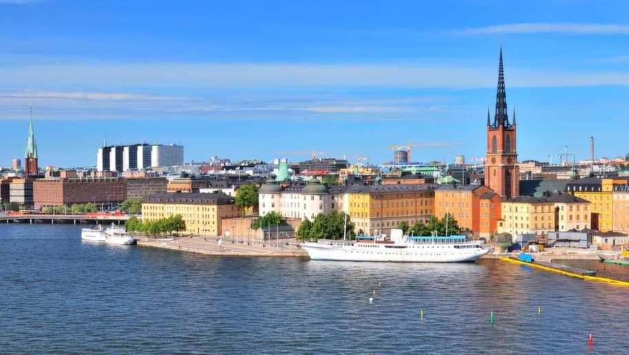 stockholm. view of island riddarholmen from sodermalm