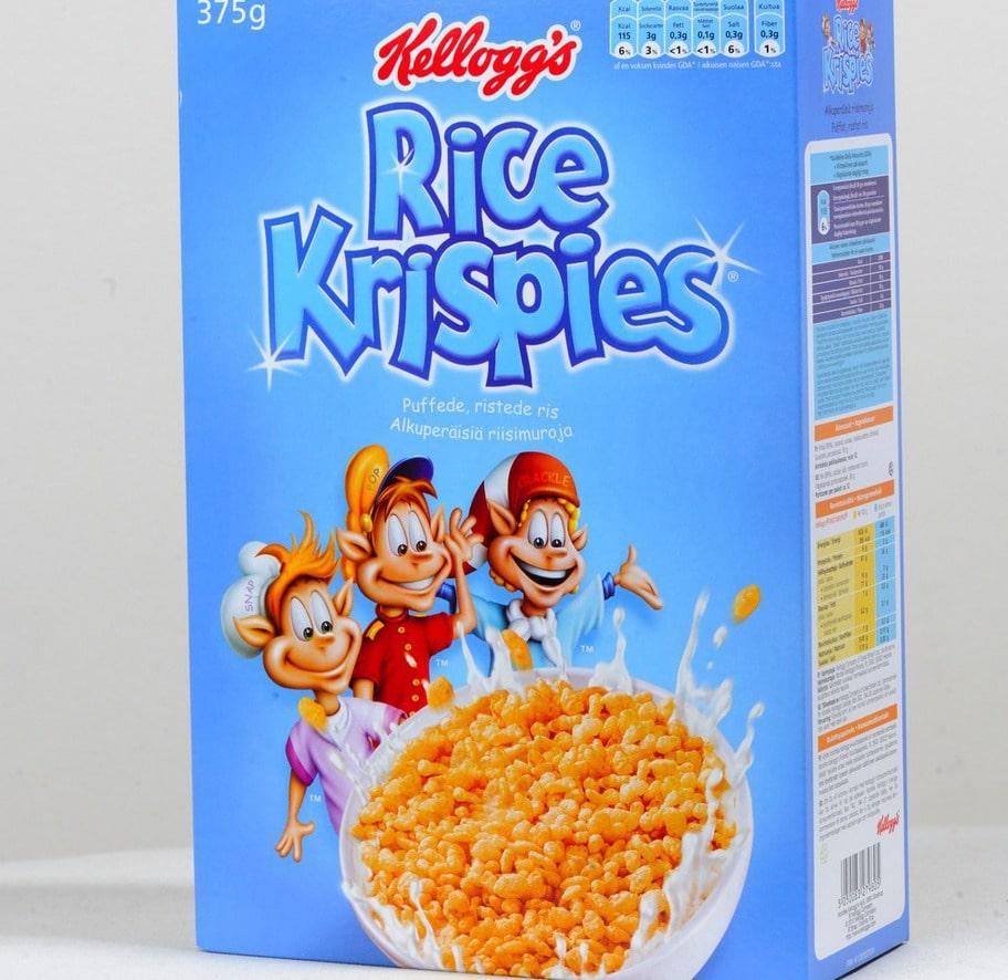 1 geting. Märke: Rice krispies, Kellogs. Pris: Cirka 35 kronor för 375 g. Ulrikas omdöme: Denna produkt verkar inte nyttig och det är den inte heller! Bara snabba kolhydrater som påverkar blodsockret negativt. Du blir strax hungrig igen.