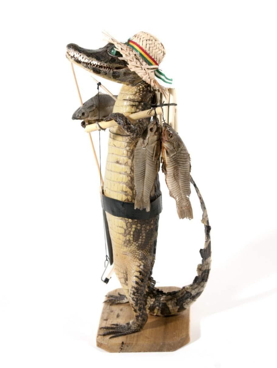 En krokodil i halmhatt ser kanske rolig ut, men alla uppstoppade krokodiler är förbjudna att handla med.