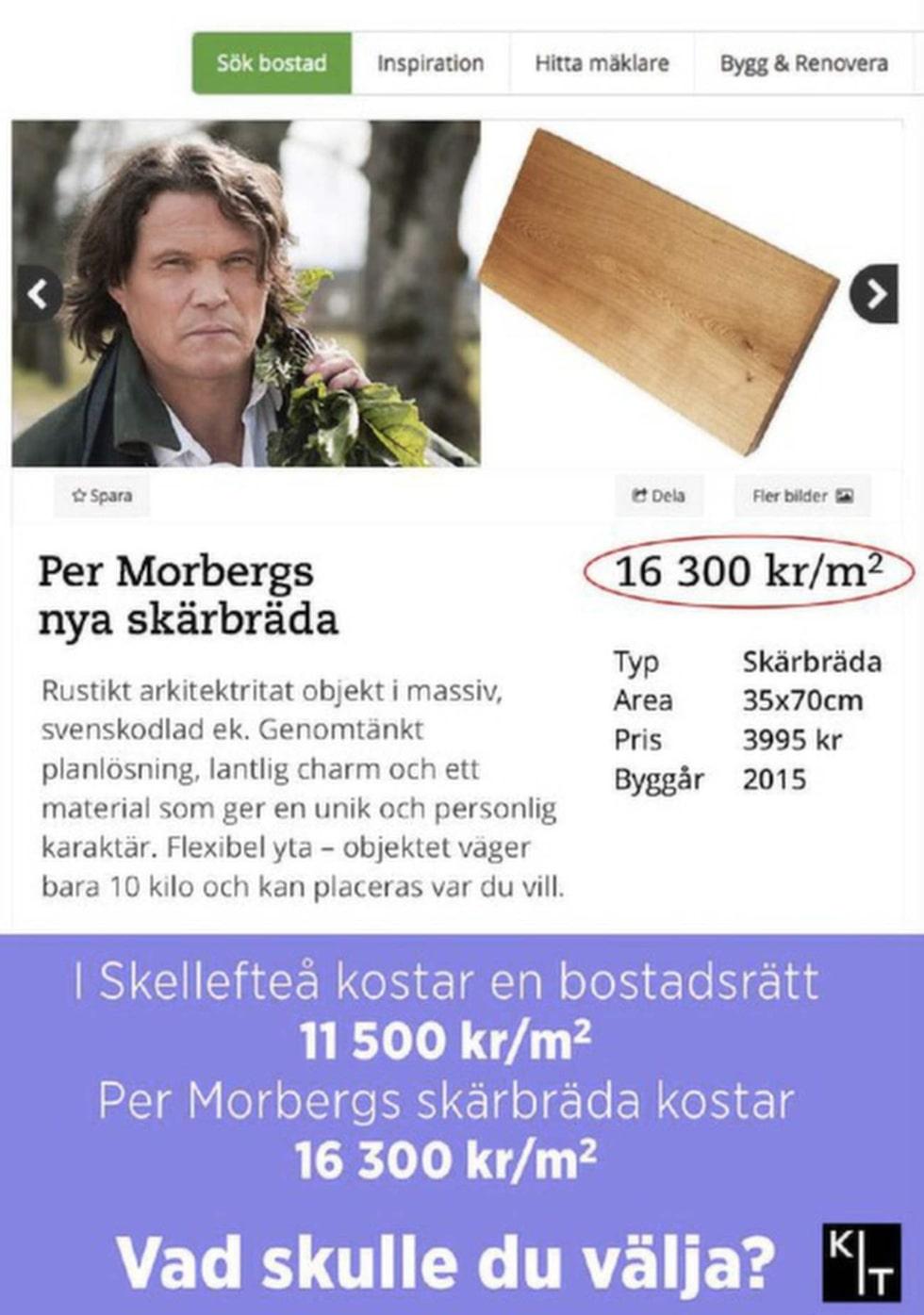<p>På sajten Kit driver man med Per Morbergs skärbräda. </p>
