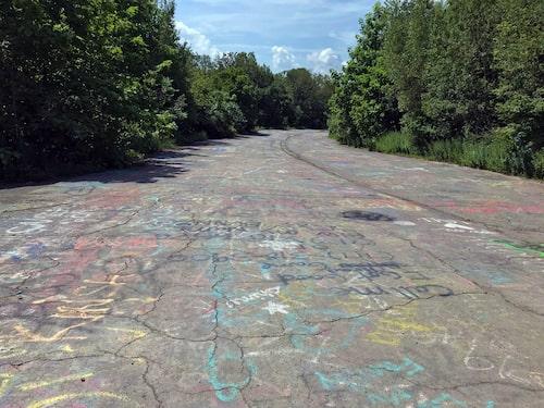 Graffiti på motorvägen som går genom Centralia.