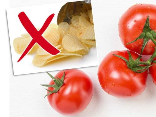 Salta på en bit tomat istället.