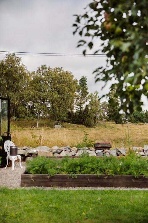 Utanför växthuset har Fredrik och Jennie anlagt en köksträdgård med grus och pallkragar.