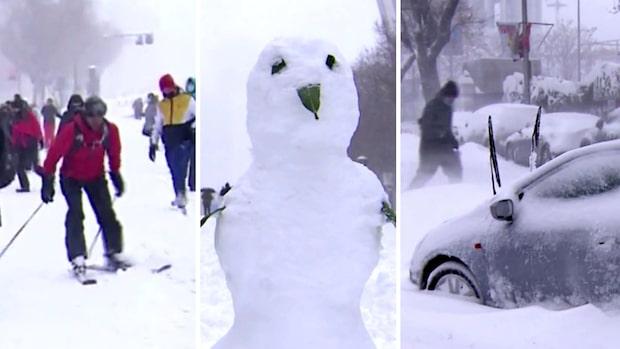 Se bilderna efter snöovädret i Spanien – kaos på gatorna