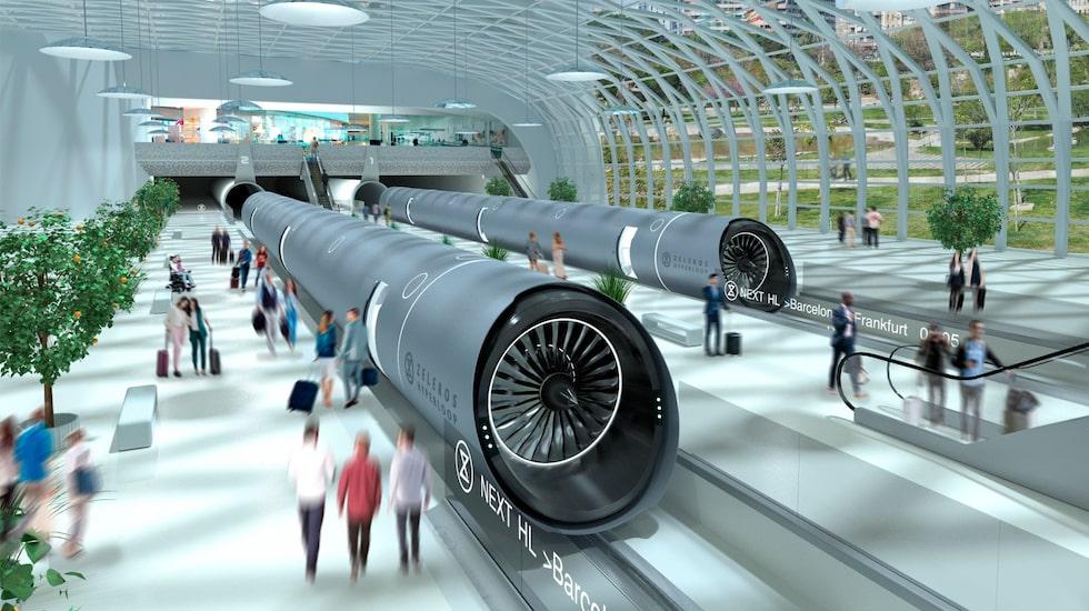 En vision av en framtida Hyperloopstation.