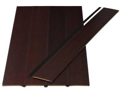 Bambu. Laserat mörkbrunt laminatgolv i bambu, Kvist, 279 kr/kvm, pris per förpackning 388 kr, Ikea.se.