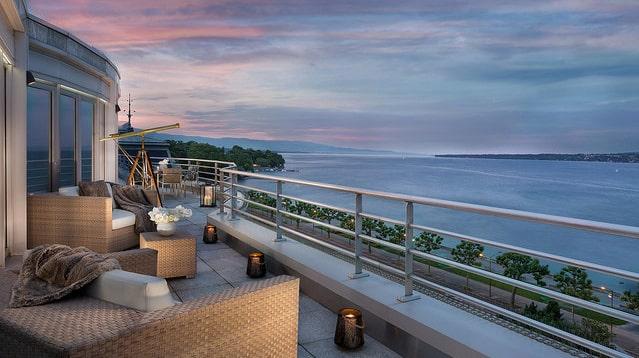 Royal Penthousesviten i Genève är 510 kvadratmeter, exklusive terrass.