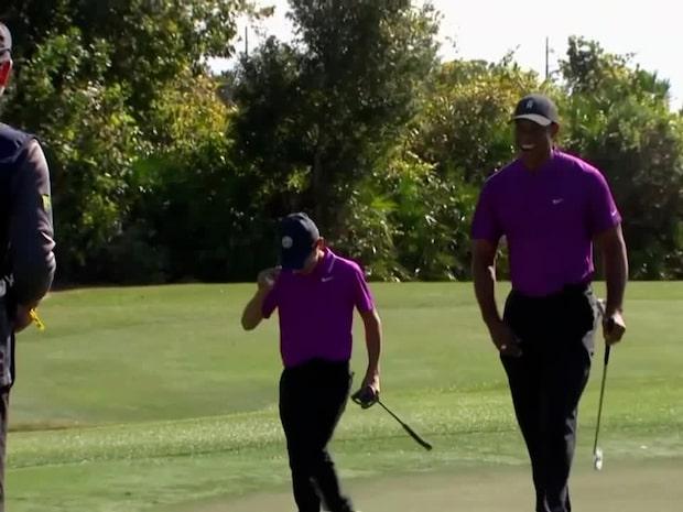 Tiger Woods son chockar golfstjärnorna