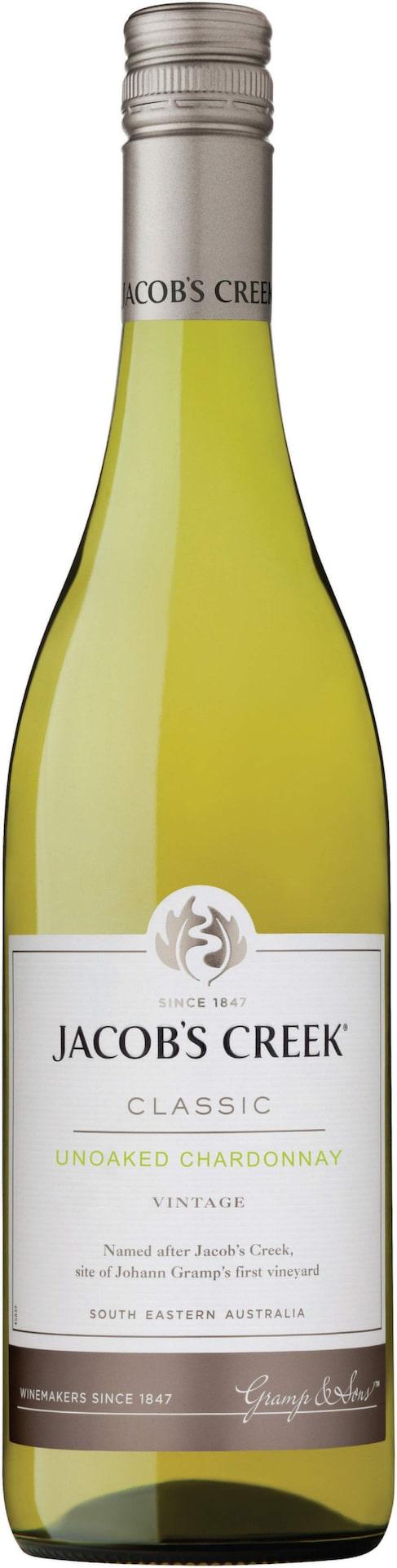 VittJacob's Creek Unoaked Chardonnay 2014 (6473) Australien, 71 krTrevligt med drag av krispiga äpplen och en frisk fruktsyra. Passar till exempelvis en klassisk ostfondue.