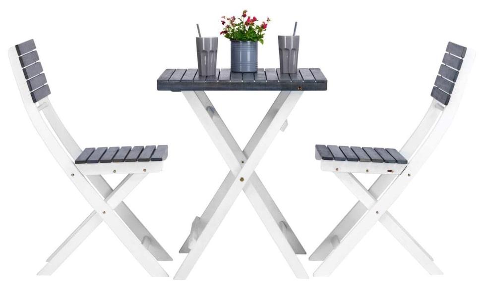 Balkonggrupp Caféset i vitt och grått, 799 kronor, Clas Ohlson.