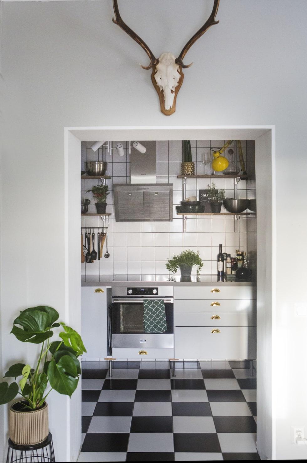 Svartvitt. Köket sett från hallen. Golvet är lagt med svart-vitt klinkers. Överallt syns Malins kärlek till växter.