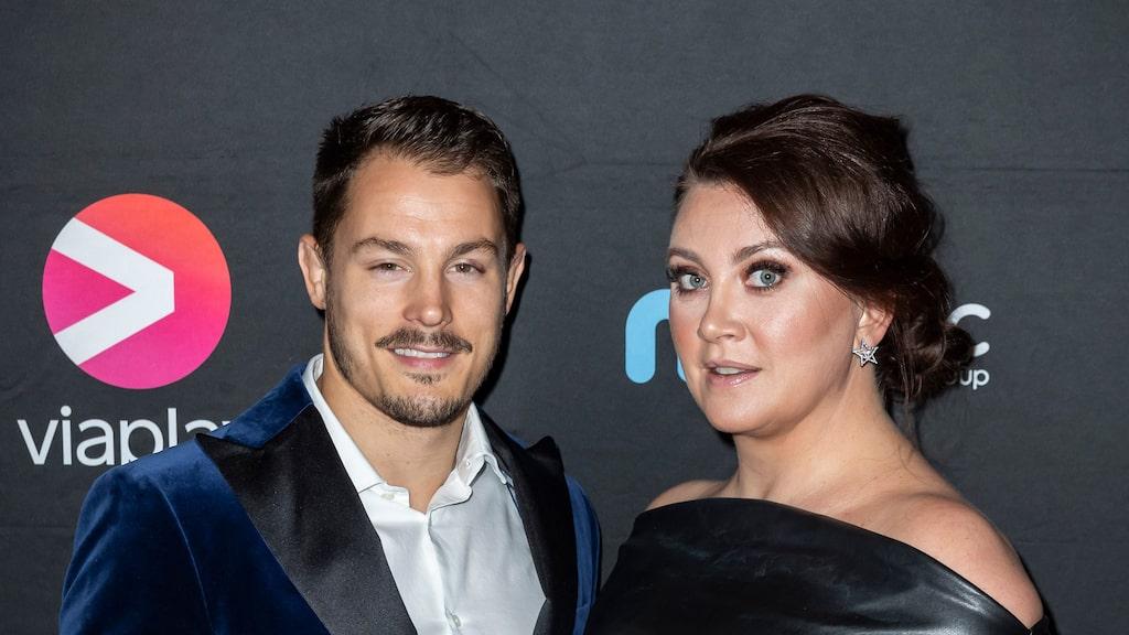 Simon Sköld tillsammans med hustrun Camilla Läckberg.