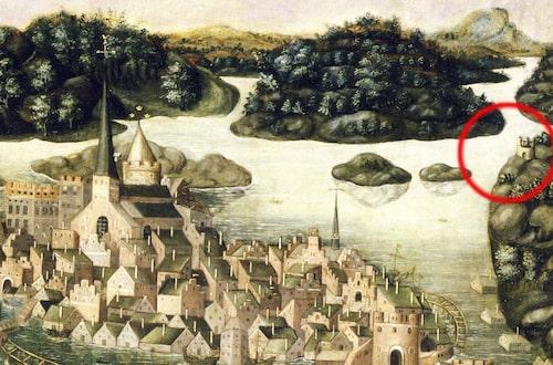 Utsnitt från Vädersolstavlan som hänger i Storkyrkan i Stockholm. På tavlan, som målades på 1500-talet, finns Stigberget och galgen avbildad.