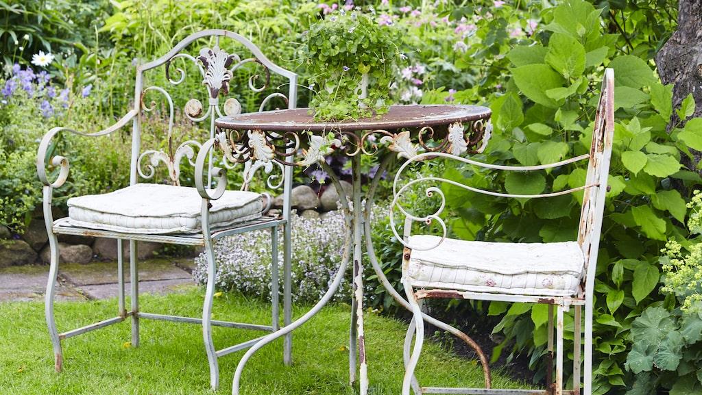 I skuggan av äppelträdet står trädgårdsmöbler med vacker patina.