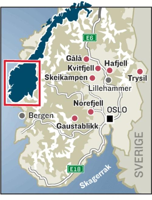 Norges skidorter.