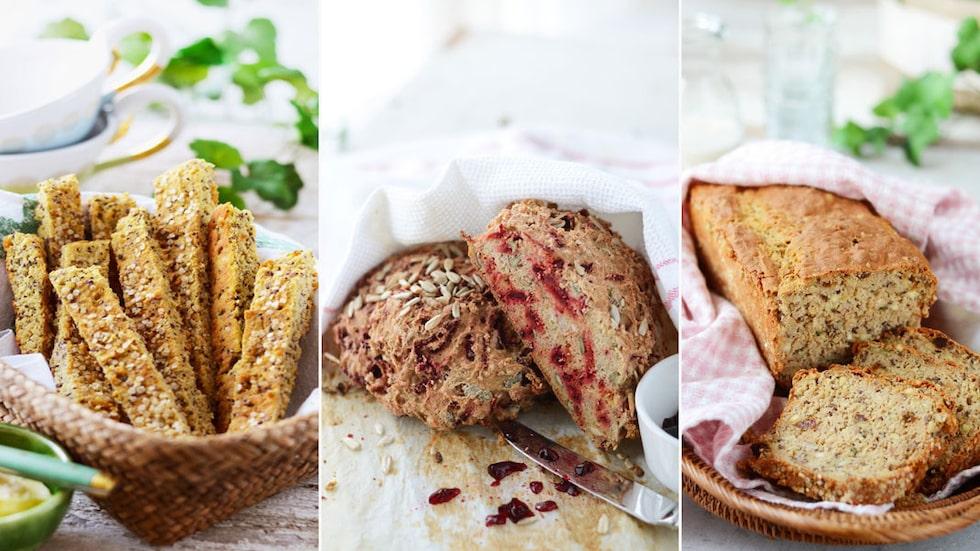Som långpannebröd, rödbetsbröd och frukt- och nötbröd