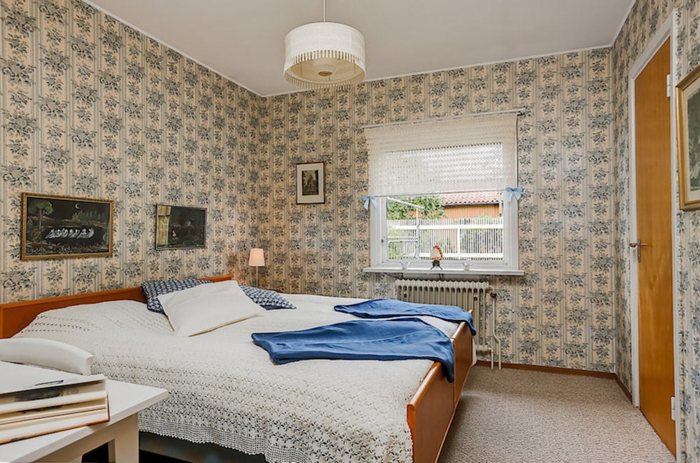 Sovrum i 50-talsstil.