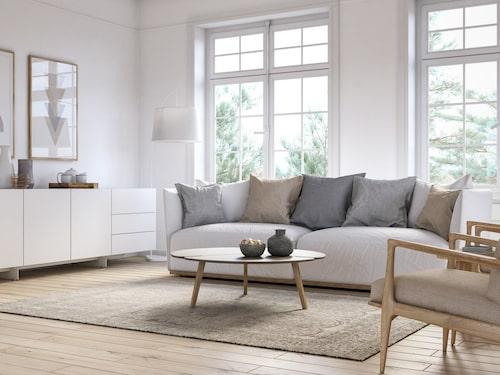 En felplacerad matta kan förstöra rummets helhetsintryck. Se också till att mattan är tillräckligt stor.