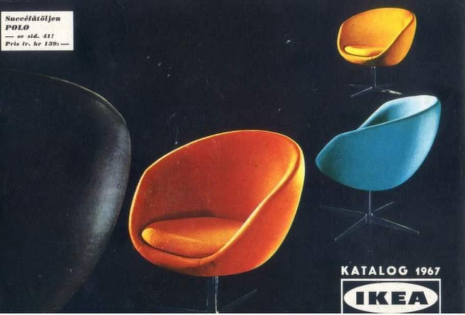1967. Här börjar det hända något med designen av möblerna, plötsligt gäller färg och mjukare former.