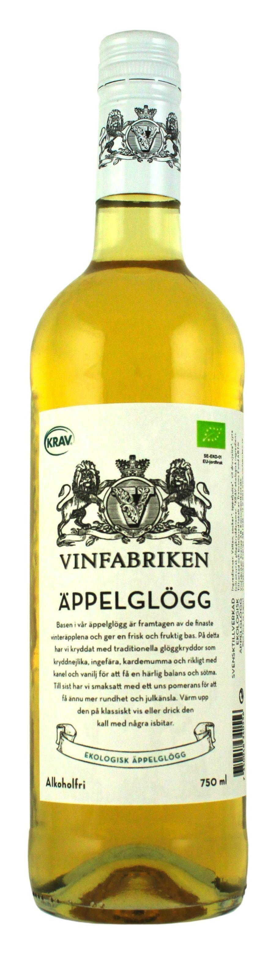 """<strong>Vi börjar med alkoholfri glögg:</strong><br>Vinfabriken Äppelglögg (99543) 0,0%, 29 kr<br>Vit kravmärkt glögg med fräsch, ren smak av syrliga äpplen, citrus och kanel. Drag av äppelkaka. God både varm och kall.<br><exp:icon type=""""wasp""""></exp:icon><exp:icon type=""""wasp""""></exp:icon><exp:icon type=""""wasp""""></exp:icon><exp:icon type=""""wasp""""></exp:icon><exp:icon type=""""wasp""""></exp:icon>"""